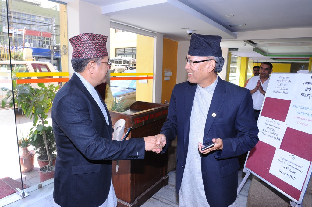Chairman of CSD Mr. Shankar Man Shrestha welcoming the Chief Guest Mr. Chiranjevi Nepal - Governor of Central Bank